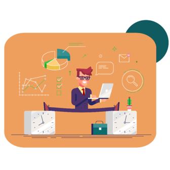 illustration of business man balancing between two clocks juggling his laptop, messages, analyses, and general business items.